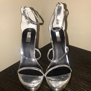 Silver strappy Forever 21 Block heels